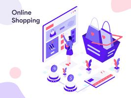 Ilustração isométrica de compras on-line. Estilo moderno design plano para site e site móvel. Ilustração vetorial