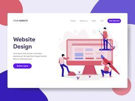 Modelo de página de aterrissagem do conceito de ilustração de Design do site. Conceito de design plano isométrico de design de página da web para o site e site móvel.