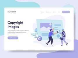Molde da página da aterrissagem do conceito da ilustração das imagens de Copyright. Conceito de design plano isométrico de design de página da web para o site e site móvel.