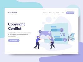Molde da página da aterrissagem do conceito da ilustração do conflito de Copyright. Conceito de design plano isométrico de design de página da web para o site e site móvel.