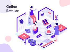 Ilustração isométrica de varejista on-line. Estilo moderno design plano para site e site móvel. Ilustração vetorial