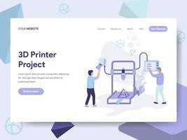 Molde da página da aterrissagem do conceito da ilustração da impressora 3D. Conceito de design plano isométrico de design de página da web para o site e site móvel. vetor