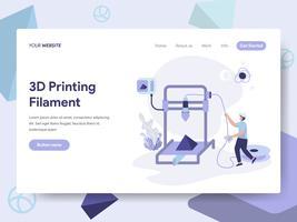 Molde da página da aterrissagem do conceito da ilustração do filamento da impressão 3d. Conceito de design plano isométrico de design de página da web para o site e site móvel.