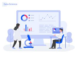Conceito de ilustração de ciência de dados. Conceito moderno design plano de design de página da web para o site e site móvel. vetor