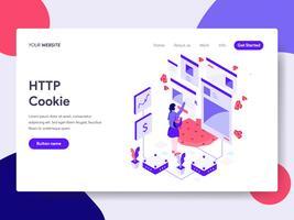 Molde da página da aterrissagem do conceito da ilustração da cookie de HTTP. Conceito de design plano isométrico de design de página da web para o site e site móvel. vetor