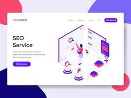 Modelo de página de aterrissagem de conceito de ilustração de serviço de seo. Conceito de design plano isométrico de design de página da web para o site e site móvel.