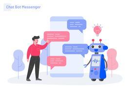 Conceito da ilustração do mensageiro do bot do bate-papo. Conceito moderno design plano de design de página da web para o site e site móvel.