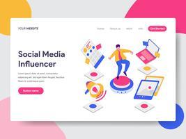 Molde da página da aterrissagem do conceito social da ilustração do influenciador dos media. Conceito de design plano isométrico de design de página da web para o site e site móvel.