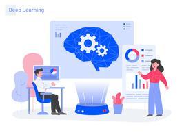 Aprendizagem Profunda Conceito De Ilustração. Conceito moderno design plano de design de página da web para o site e site móvel. vetor