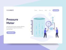 Molde da página da aterrissagem do conceito da ilustração do medidor de pressão do tanque de gás. Conceito de design plano isométrico de design de página da web para o site e site móvel.