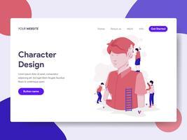 Molde da página da aterrissagem do conceito da ilustração do processo de design de caráter. Conceito de design plano isométrico de design de página da web para o site e site móvel.