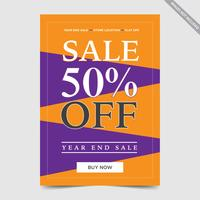 Design de folheto para venda, conceito venda panfleto bunting ilustração em vetor cor laranja roxo