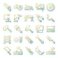 Pacote de ícones de carpinteiro vetor