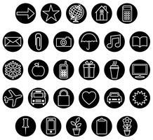 conjunto de ícones brancos pretos vetor