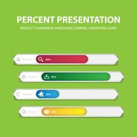 Modelo de barra de porcentagem de infográfico de negócios com 4 opções vetor