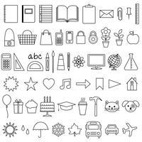 Selos digitais dos ícones do planejador vetor