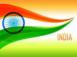 bandeira indiana feita com onda tricolor vetor