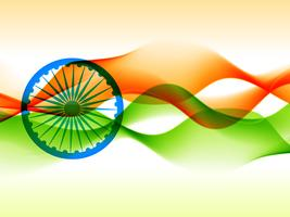 design de bandeira indiana feita com estilo de onda vetor