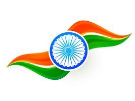 design de bandeira indiana no estilo de onda vetor
