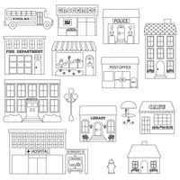 Cidade, edifícios, digital, selos, clipart vetor