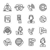 Conjunto de ícones de contorno de centro de chamada