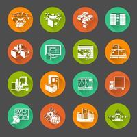 Novo conjunto de ícones de círculo plana de logística vetor