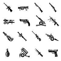 Ícones de armas pretas vetor