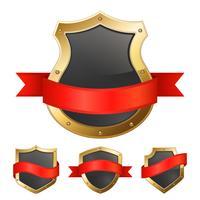 Escudos de moldura dourada preta com fita vetor
