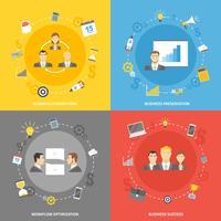 Conjunto de ícones plana de conceito de negócio