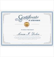 Modelo vintage retrô certificado ou diploma vetor