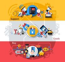 Conjunto de Banners de comércio eletrônico vetor