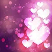 fundo do coração com efeito bokeh vetor