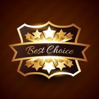 melhor design de etiqueta de escolha com estrelas douradas vetor