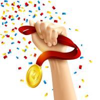 Mão segurando o prêmio de medalha de vencedores vetor