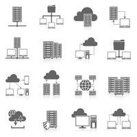 Conjunto de ícones pretos de serviço de hospedagem