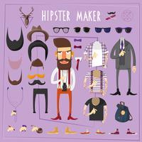 Conjunto de construtor criativo mestre hipster vetor