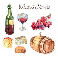 Conjunto de pictogramas em aquarela de vinho e queijo vetor