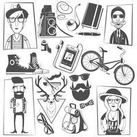 Composição de ícones pretos hipster impressão vetor