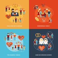 Composição de ícones familiares não tradicionais