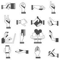 Mão, ícones, jogo, pretas