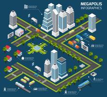 Conceito de cidade isométrica vetor