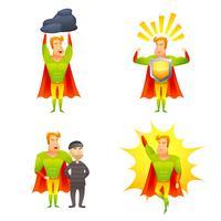 Conjunto de ícones de poder de personagem de desenho animado super-herói vetor