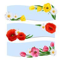 Banners florais horizontais vetor