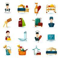 ícones de empregada de hotel vetor