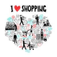 Eu amo o conceito de compras vetor