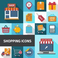 Conjunto de ícones quadrados de compras vetor