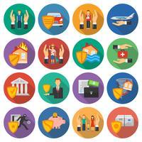 Conjunto de ícones de seguro vetor