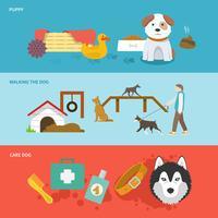 conjunto de banner de cão
