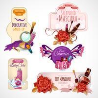 Conjunto de etiquetas de cosméticos vetor