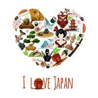 Cartaz de Japão do amor vetor